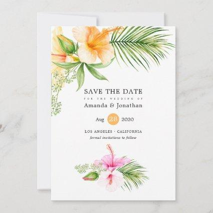 Watercolor Tropical Floral Beach Wedding Save The Date