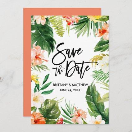Watercolor Tropical Floral Brush Script Coral Save The Date