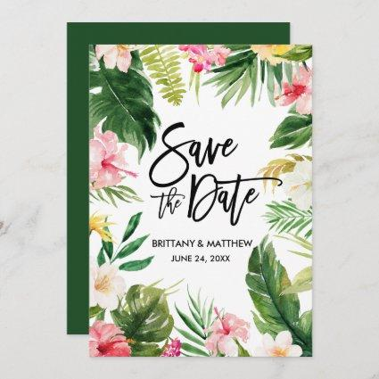 Watercolor Tropical Floral Brush Script Green Save The Date