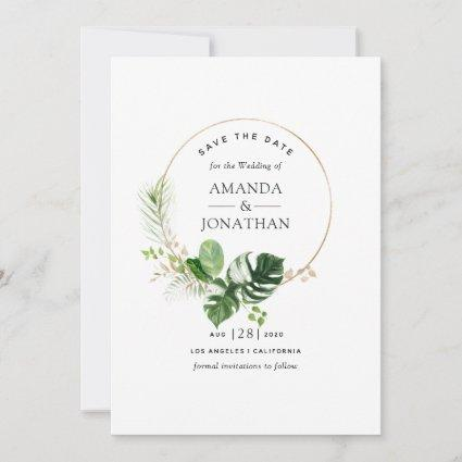 Watercolor Tropical Greenery Beach Wedding Save The Date