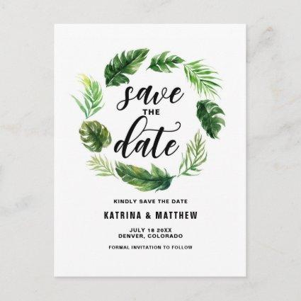 Watercolor Tropical Leaves Wreath Save the Date Announcement