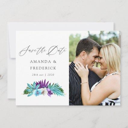 Watercolor Tropical Orchids Geometric Wedding Save The Date