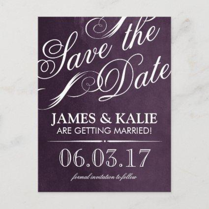 Watercolor Vintage Script Save the Date Announcements Cards