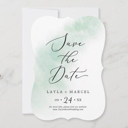 Watercolor Wash | Green Wedding Save The Date