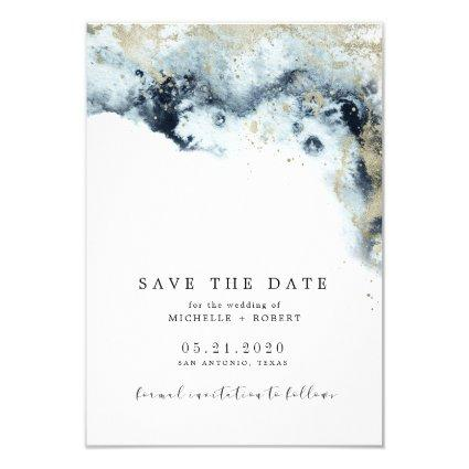 Watercolor Waves Minimalistic Photo Save The Date Invitation