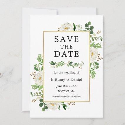 Watercolor White Floral Save The Date Card