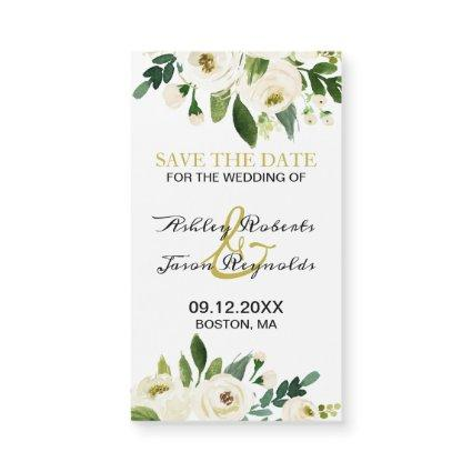 Watercolor White Flower Magnetic Save the Date
