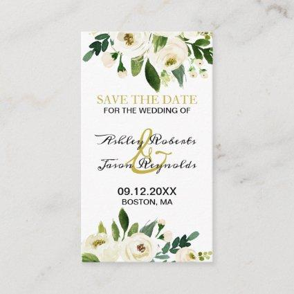Watercolor White Flower Save the Date Enclosure Card