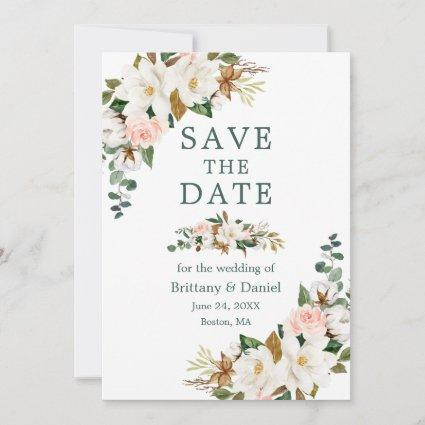 Watercolor White Magnolias Pink Roses Green Save The Date