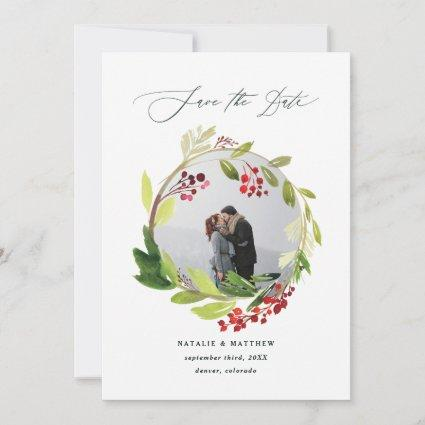 Watercolor winter wreath photo save the date thank you card