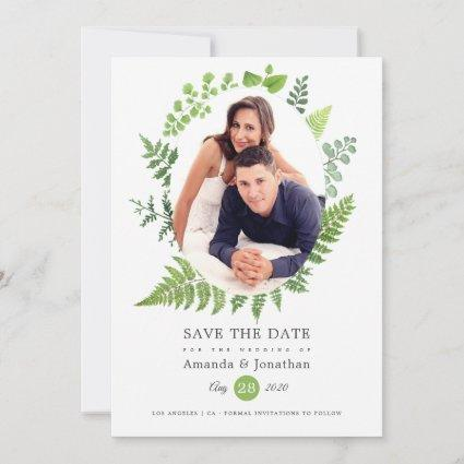 Watercolor Woodland Forest Greenery Wedding Save The Date