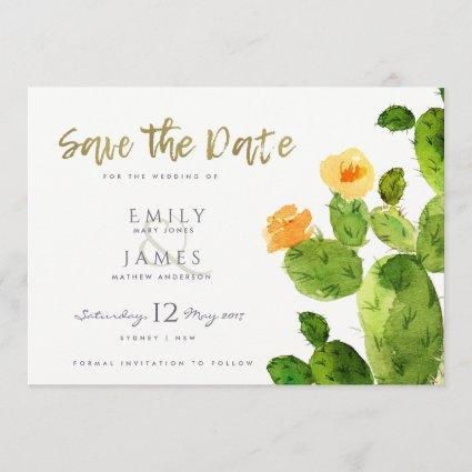 WATERCOLOUR DESERT CACTUS FLOWER  SAVE THE DATE