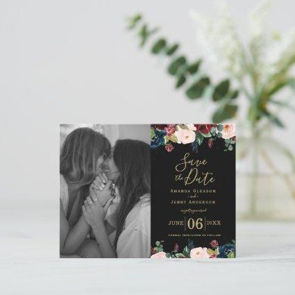 Watercolour Pink, Burgundy and Navy Blue Flowers  Announcement