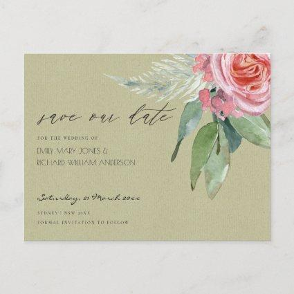 WATERCOLOUR PINK FLOWER FOLIAGE SAVE THE DATE ANNOUNCEMENT