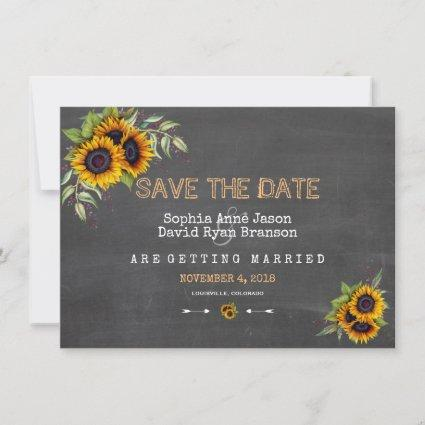 Watercolour Sunflowers Chalkboard Save The Date