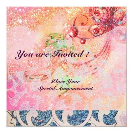WAVES RUBY, bright red  blue pink gold sparkles Invitation