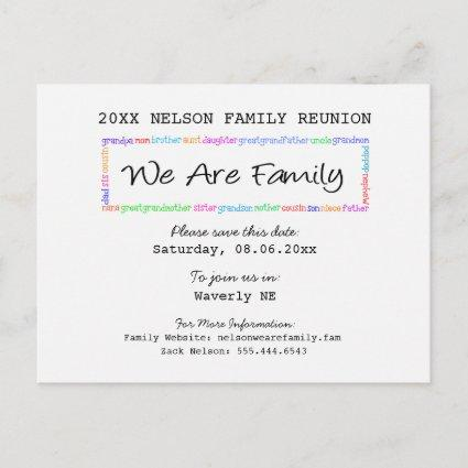 We Are Family Reunion or Party Save the Date Announcement