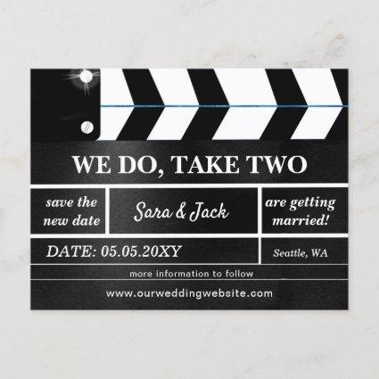 We Do Take Two Movie Clapboard Wedding Postponed Announcement