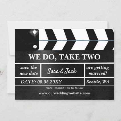 We Do Take Two Movie Clapboard Wedding Postponed Save The Date