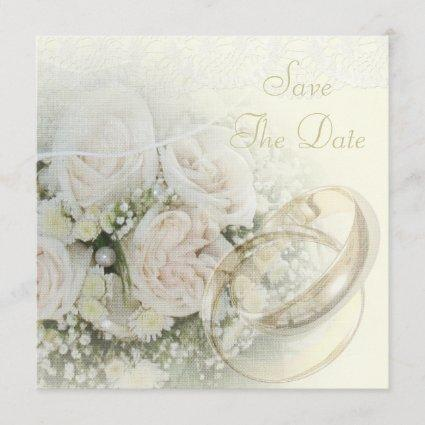 Wedding Bands, Roses, Doves & Lace Save The Date