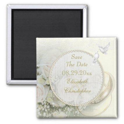 Wedding Bands, Roses, Doves & Lace Save The Date Magnets