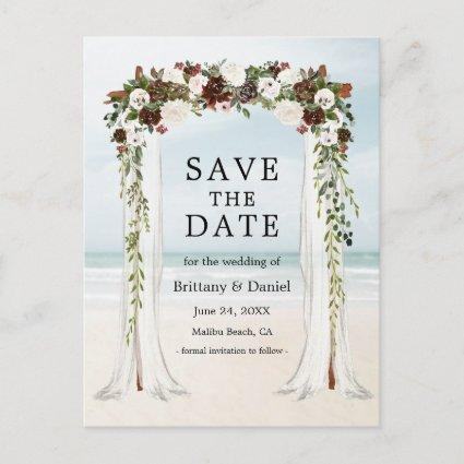 Wedding Beach Canopy Watercolor Boho Floral Announcement