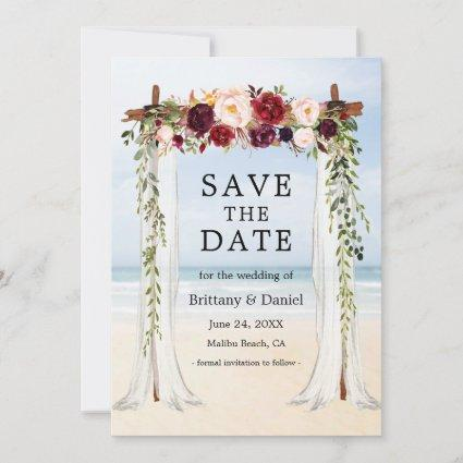 Wedding Beach Canopy Watercolor Burgundy Floral Save The Date