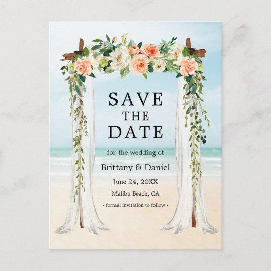 Wedding Beach Canopy Watercolor Coral White Floral Announcement