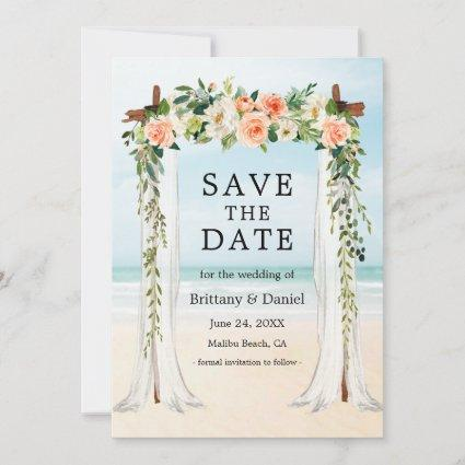 Wedding Beach Canopy Watercolor Coral White Floral Save The Date