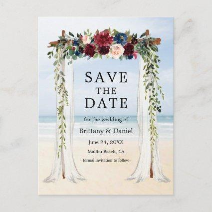 Wedding Beach Canopy Watercolor Floral Announcement