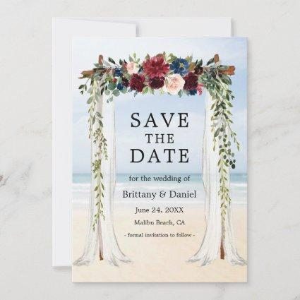 Wedding Beach Canopy Watercolor Floral Save The Date