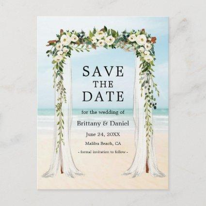 Wedding Beach Canopy Watercolor Green White Floral Announcement
