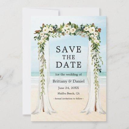Wedding Beach Canopy Watercolor Green White Floral Save The Date