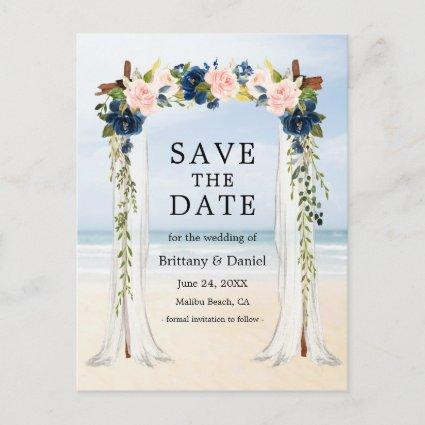 Wedding Beach Canopy Watercolor Pink Blue Floral Announcement