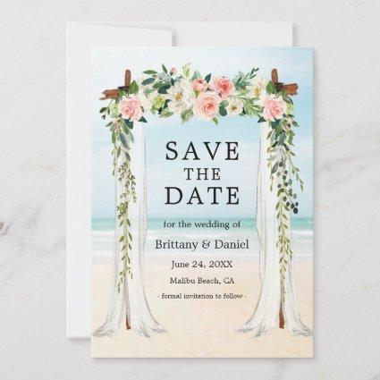 Wedding Beach Canopy Watercolor Pink White Floral Save The Date