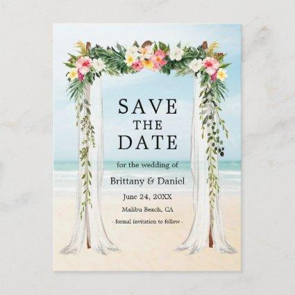 Wedding Beach Canopy Watercolor Tropical Floral Announcement