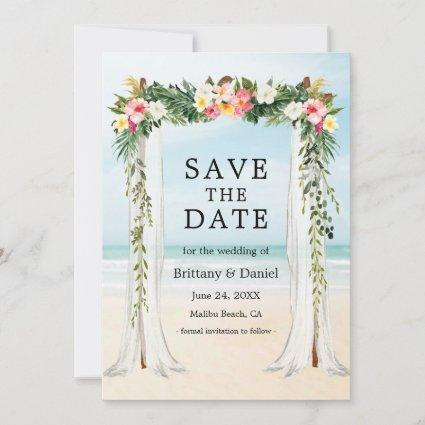 Wedding Beach Canopy Watercolor Tropical Floral Save The Date