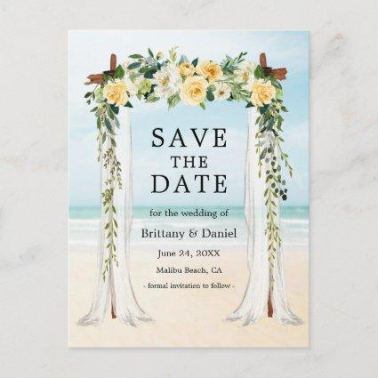 Wedding Beach Canopy Watercolor Yellow Floral Announcement