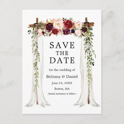 Wedding Canopy Arch Watercolor Burgundy Floral Announcement