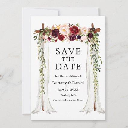 Wedding Canopy Arch Watercolor Burgundy Floral Save The Date