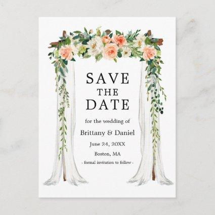 Wedding Canopy Arch Watercolor Coral White Floral Announcement