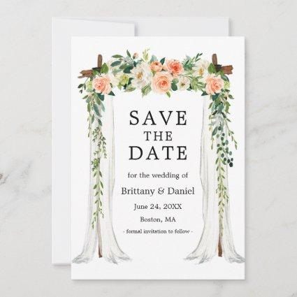 Wedding Canopy Arch Watercolor Coral White Floral Save The Date