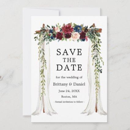 Wedding Canopy Arch Watercolor Floral Save The Date