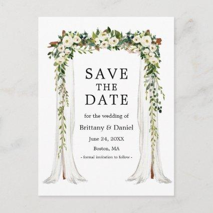 Wedding Canopy Arch Watercolor Green Floral Announcement