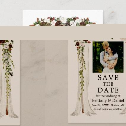 Wedding Canopy Arch Watercolor Green Forest Floral Announcement