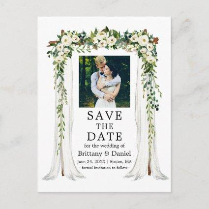 Wedding Canopy Arch Watercolor Green White Floral Announcement