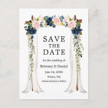 Wedding Canopy Arch Watercolor Pink Blue Floral Announcement