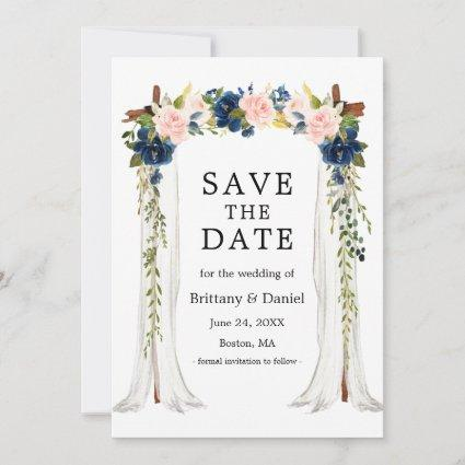 Wedding Canopy Arch Watercolor Pink Blue Floral Save The Date