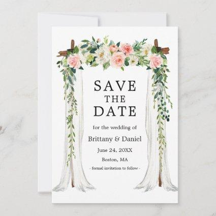 Wedding Canopy Arch Watercolor Pink White Floral Save The Date