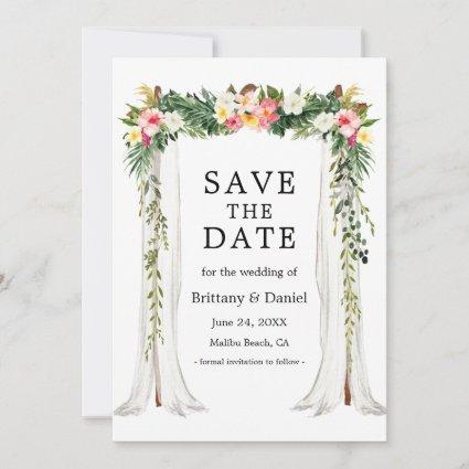 Wedding Canopy Arch Watercolor Tropical Floral Save The Date